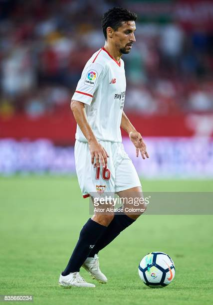 Jesus Navas of Sevilla FC in action during the La Liga match between Sevilla and Espanyol at Estadio Ramon Sanchez Pizjuan on August 19 2017 in...