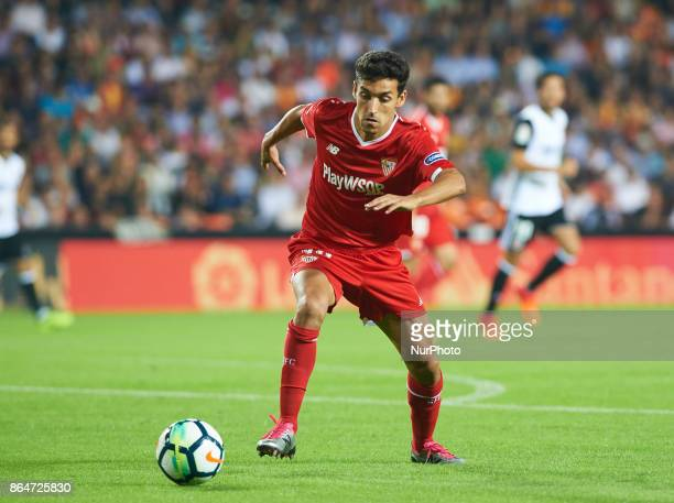 Jesus Navas of Sevilla FC in action during the La Liga match between Valencia CF and Sevilla FC at Estadio Mestalla on october 21 2017 in Valencia...