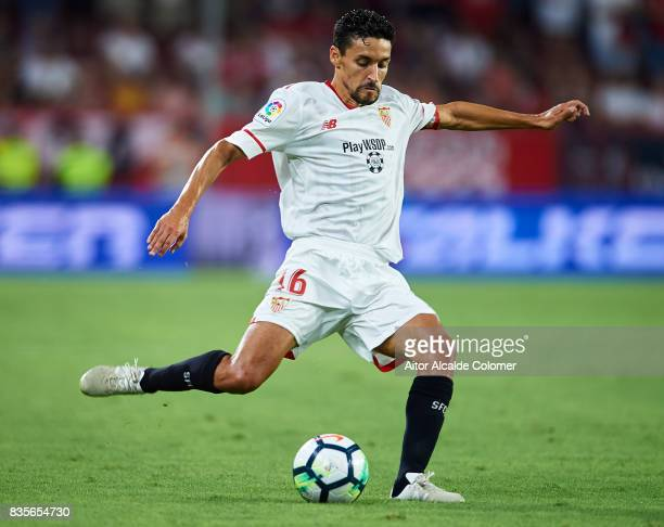 Jesus Navas of Sevilla FC in actionduring the La Liga match between Sevilla and Espanyol at Estadio Ramon Sanchez Pizjuan on August 19 2017 in Seville