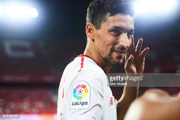 Jesus Navas of Sevilla FC looks on during a Pre Season Friendly match between Sevilla FC and AS Roma at Estadio Ramon Sanchez Pizjuan on August 10...