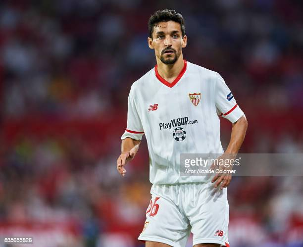 Jesus Navas of Sevilla FC looks on during the La Liga match between Sevilla and Espanyol at Estadio Ramon Sanchez Pizjuan on August 19 2017 in Seville