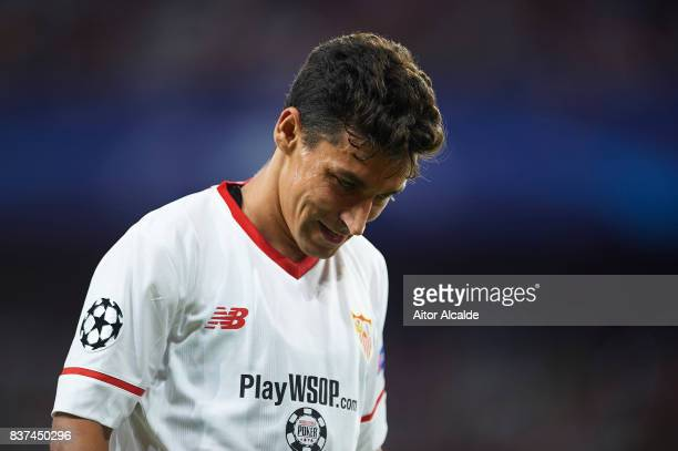 Jesus Navas of Sevilla FC looks on during the UEFA Champions League Qualifying PlayOffs round second leg match between Sevilla FC and Istanbul...