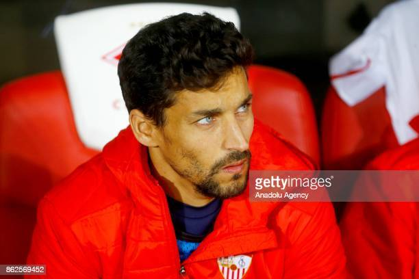 Jesus Navas of Sevilla is seen on the bench during the UEFA Champions League match between Spartak Moscow and Sevilla FC at Spartak Stadium in Moscow...