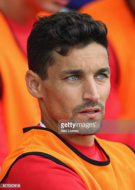 Jesus Navas of Sevilla looks on during a preseason friendly match between Everton and Sevilla at Goodison Park on August 6 2017 in Liverpool England
