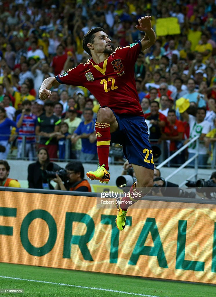 Jesus Navas of Spain celebrates scoring the winning penalty in a shootout during the FIFA Confederations Cup Brazil 2013 Semi Final match between Spain and Italy at Castelao on June 27, 2013 in Fortaleza, Brazil.