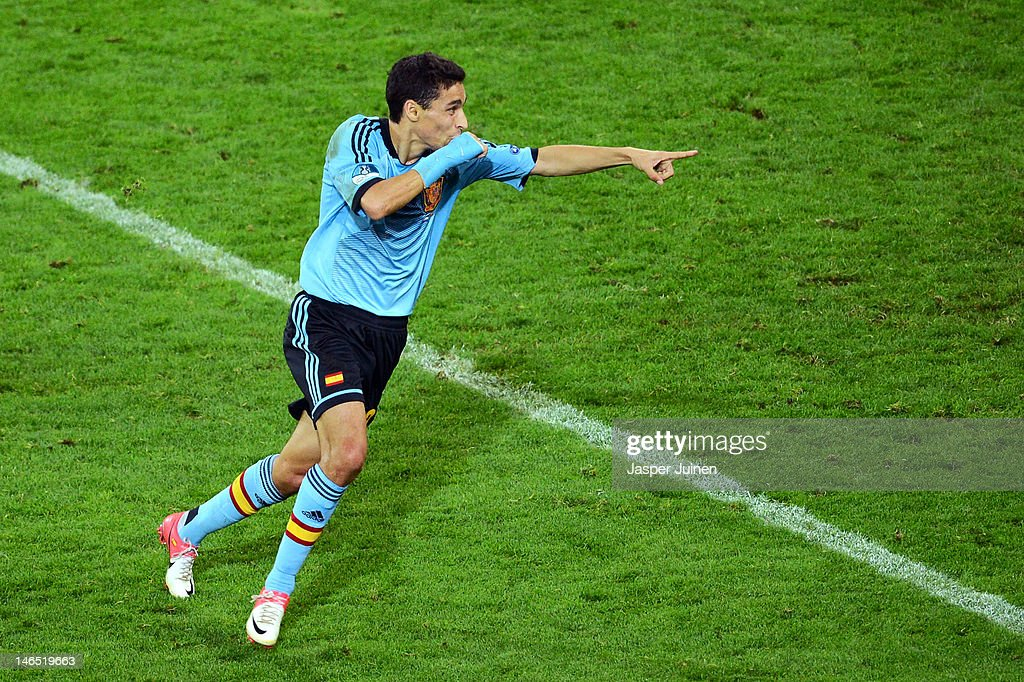 Jesus Navas of Spain celebrates scoring their first goal during the UEFA EURO 2012 group C match between Croatia and Spain at The Municipal Stadium on June 18, 2012 in Gdansk, Poland.