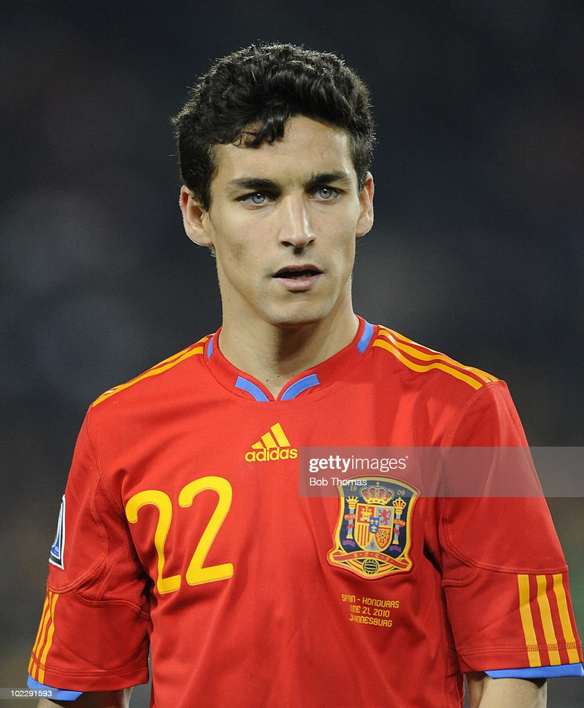Jesus Navas of Spain during the 2010 FIFA World Cup South Africa Group H match between Spain and Honduras at Ellis Park Stadium on June 21, 2010 in Johannesburg, South Africa. Spain won the match 2-0.