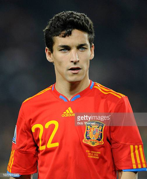 Jesus Navas of Spain during the 2010 FIFA World Cup South Africa Group H match between Spain and Honduras at Ellis Park Stadium on June 21 2010 in...