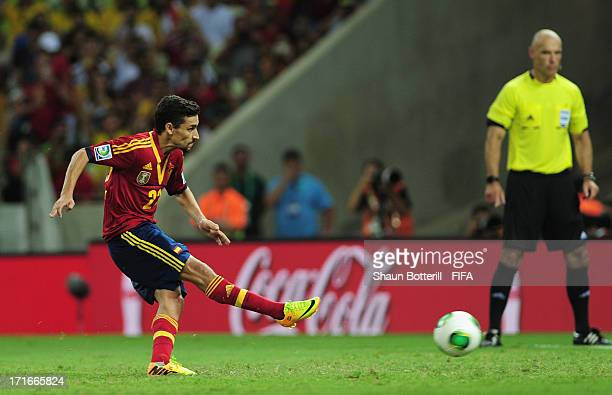 Jesus Navas of Spain scores the winning penalty in a shootout during the FIFA Confederations Cup Brazil 2013 Semi Final match between Spain and Italy...