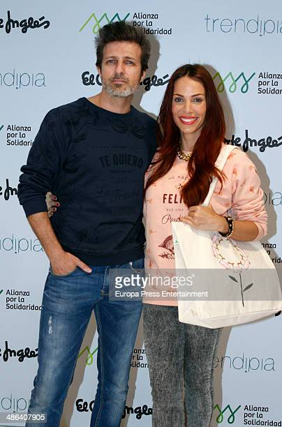 Jesus Olmedo and Nerea Garmendia present their new charity Bags collection at El Corte Ingles store Castellana street on April 23 2014 in Madrid Spain