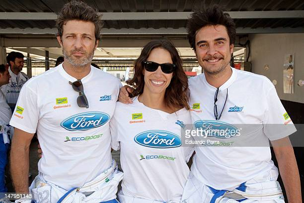 Jesus Olmedo Nerea Garmendia Jose Manuel Seda attend the '24 horas Ford 2012' race at El Jarama racetrack on July 6 2012 in Madrid Spain
