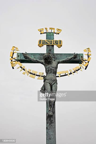 Jesus on the cross Charles Bridge Prague Czechia