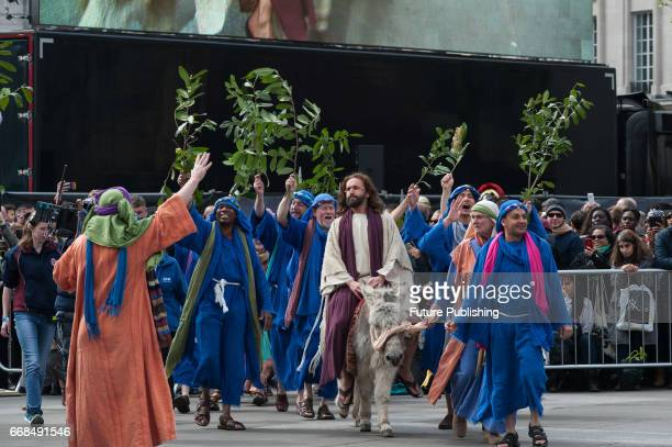 Jesus played by James BurkeDunsmore enters the city on a donkey during the annual play of The Passion of Jesus by Wintershall on The occasion of Good...