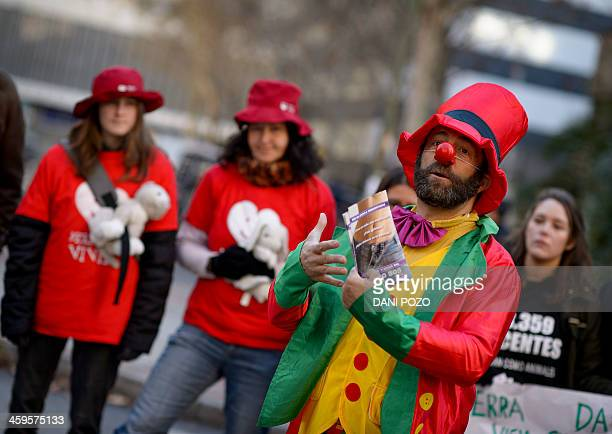 Jesus Poveda president of the Provida Association of Madrid talks dressed up as a clown during a gathering against abortion in front of the abortion...