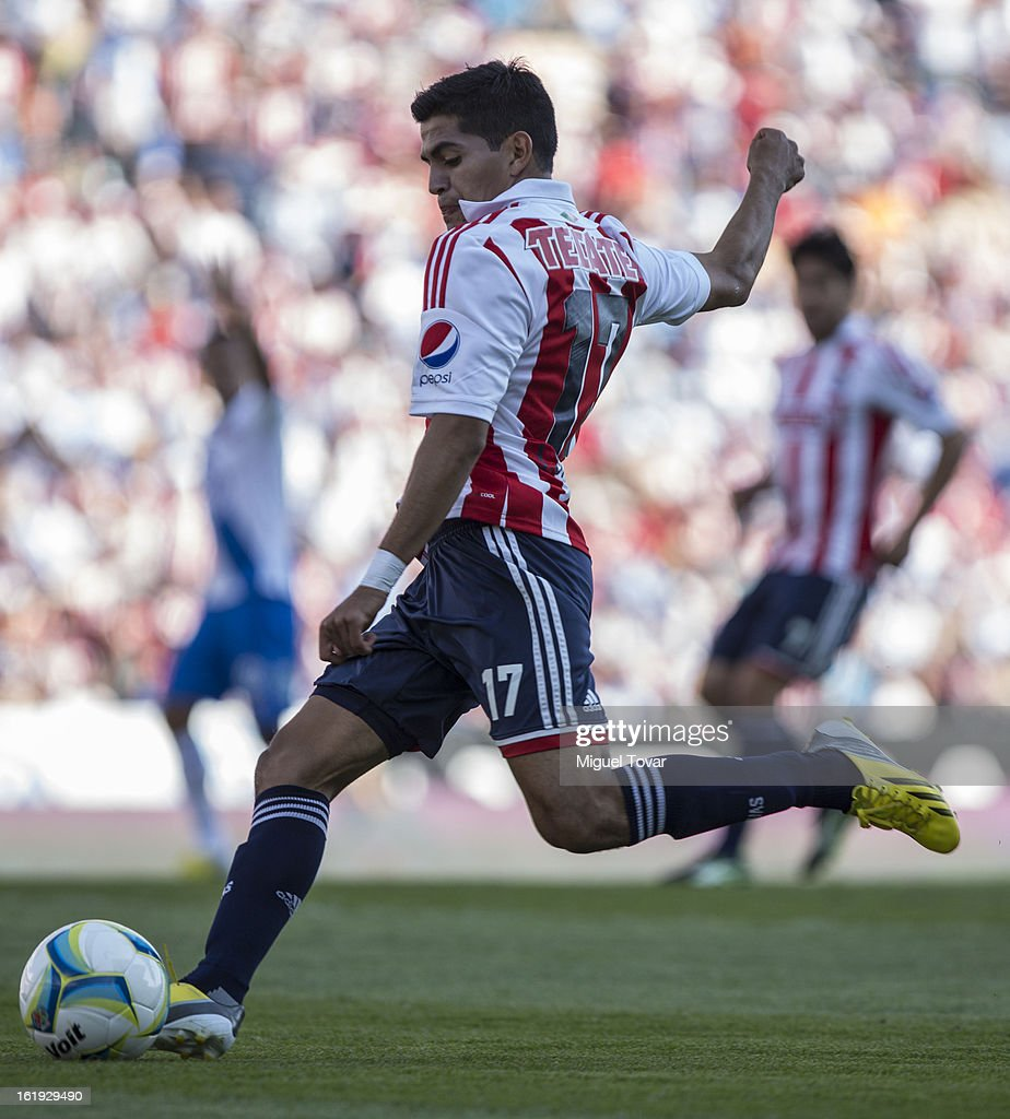Jesus Sanchez of Chivas controls the ball during a match between Puebla and Chivas as part of the Clausura 2013 at Cuauhtemoc Stadium on February 17, 2013 in Puebla, Mexico.