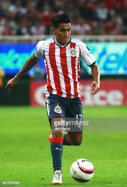 Jesus Sanchez of Chivas drives the ball during the third round match between Chivas and Necaxa as part of the Torneo Apertura 2017 Liga MX at Chivas...