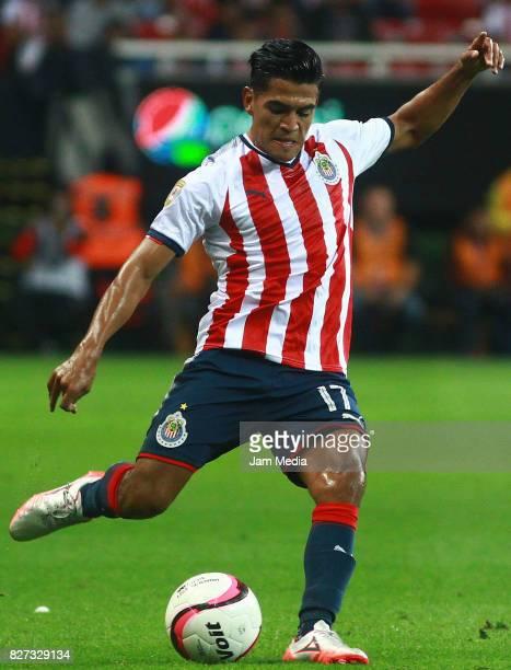 Jesus Sanchez of Chivas kicks the ball during the third round match between Chivas and Necaxa as part of the Torneo Apertura 2017 Liga MX at Chivas...