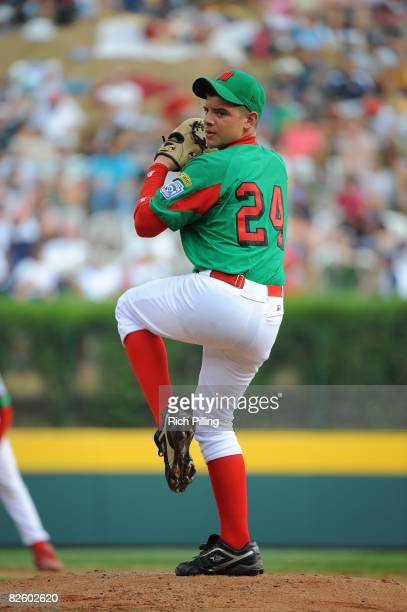 Jesus Sauceda of the Matamoros Little League team pitches during the World Series Championship game against the Waipio Little League team at Lamade...