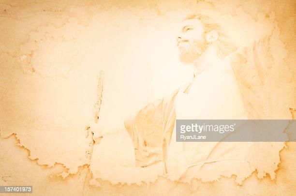 Jesus Retters Porträt auf Grunge Hintergrund mit Textfreiraum