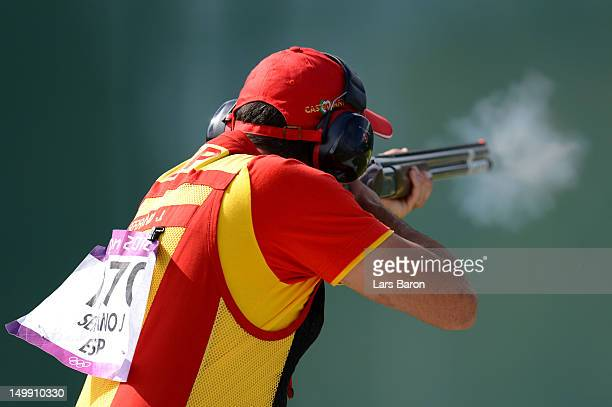Jesus Serrano of Spain competes in the Men's Trap Shooting Final on Day 10 of the London 2012 Olympic Games at the Royal Artillery Barracks on August...
