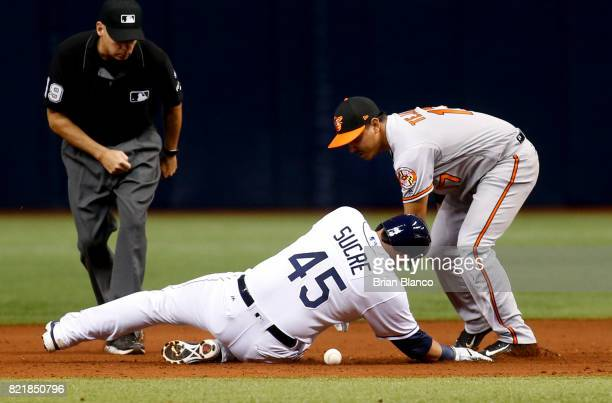 Jesus Sucre of the Tampa Bay Rays beats shortstop Ruben Tejada of the Baltimore Orioles to second base after hitting a double during the sixth inning...