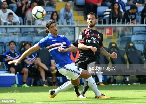 Jesus Suso of Milan and Matias Silvestre of Sampdoria during the Serie A match between UC of Sampdoria and AC of Milan at Stadio Luigi Ferraris on...