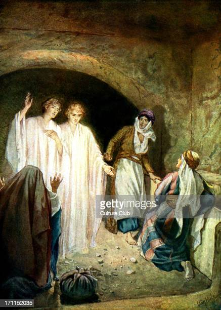 Jesus' tomb is found empty and two angels explain that Jesus is risen 'And as they were afraid and bowed down their faces to the earth they said unto...