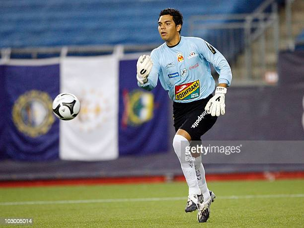 Jesus Urbina of Monarcas Morelia clears the ball in the first half against the New England Revolution during the SuperLiga 2010 on July 20 2010 at...
