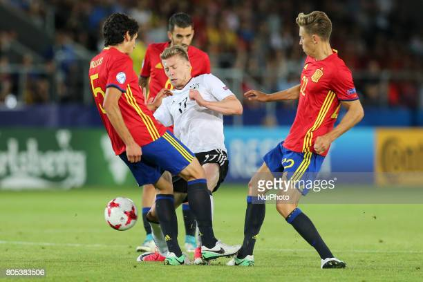Jesus Vallejo Mitchell Weiser Marcos Llorente during the UEFA U21 Final match between Germany and Spain at Krakow Stadium on June 30 2017 in Krakow...