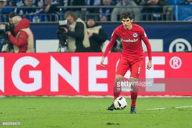Jesus Vallejo of Eintracht Frankfurt battle for the ball during the Bundesliga match between FC Schalke 04 and Eintracht Frankfurt at VeltinsArena on...