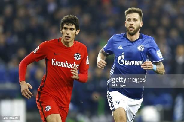 Jesus Vallejo of Eintracht Frankfurt Guido Burgstaller of Schalke 04during the Bundesliga match between Schalke 04 and Eintracht Frankfurt on January...