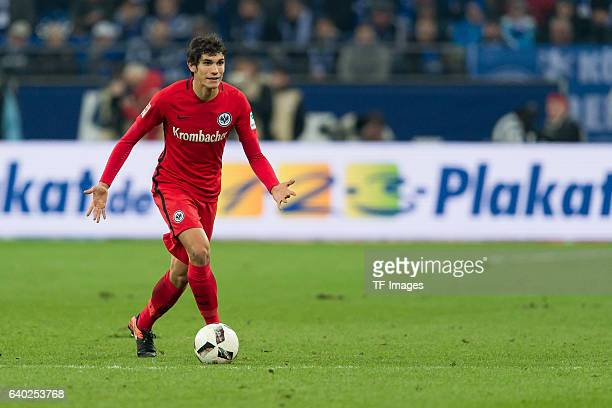 Jesus Vallejo of Eintracht Frankfurt in action during the Bundesliga match between FC Schalke 04 and Eintracht Frankfurt at VeltinsArena on January...