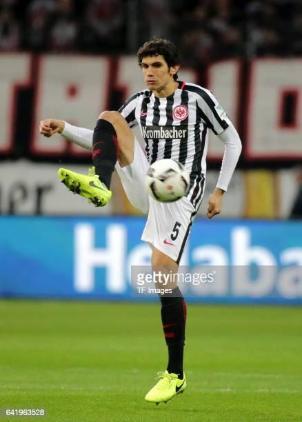 Jesus Vallejo of Frankfurt controls the ball during the Bundesliga match between Eintracht Frankfurt and SV Darmstadt 98 at CommerzbankArena on...