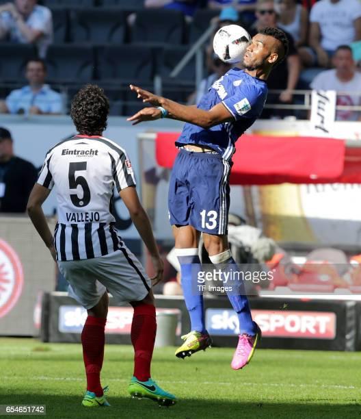 Jesus Vallejo of Frankfurt Eric Maxim ChoupoMoting of Schalke battle for the ball during the Bundesliga match between Eintracht Frankfurt and FC...
