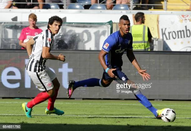 Jesus Vallejo of Frankfurt Eric Maxim ChoupoMoting of Schalke controls the ball during the Bundesliga match between Eintracht Frankfurt and FC...