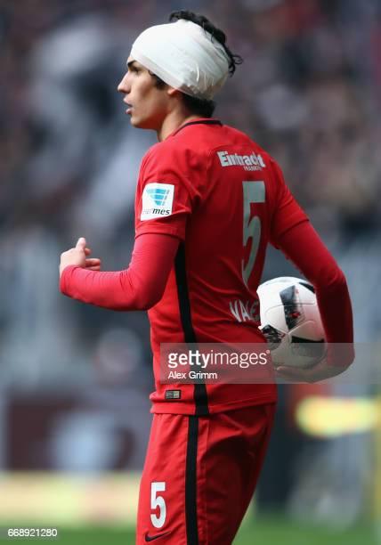 Jesus Vallejo of Frankfurt holds the ball during the Bundesliga match between Borussia Dortmund and Eintracht Frankfurt at Signal Iduna Park on April...