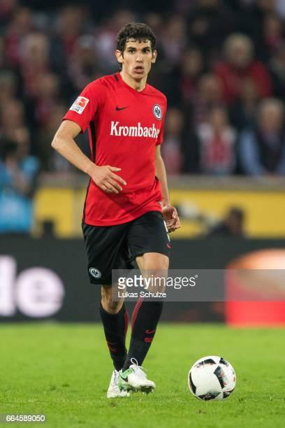 Jesus Vallejo of Frankfurt in action during the Bundesliga match between 1 FC Koeln and Eintracht Frankfurt at RheinEnergieStadion on April 4 2017 in...