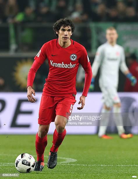 Jesus Vallejo of Frankfurt runs with the ball during the Bundesliga match between VfL Wolfsburg and Eintracht Frankfurt at Volkswagen Arena on...