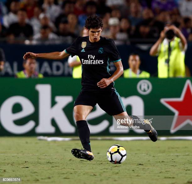 Jesus Vallejo of Real Madrid during a match against Manchester City during the International Champions Cup soccer match at Los Angeles Memorial...