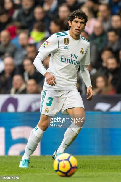 Jesus Vallejo of Real Madrid during the La Liga Santander match between Real Madrid CF and Sevilla FC on December 09 2017 at the Santiago Bernabeu...
