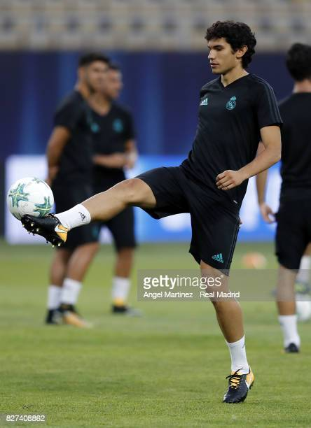 Jesus Vallejo of Real Madrid in action during a training session at Philip II Arena on August 7 2017 in Skopje Macedonia