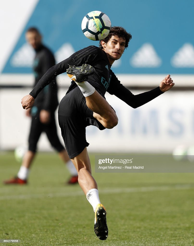 Jesus Vallejo of Real Madrid in action during a training session at Valdebebas training ground on October 21, 2017 in Madrid, Spain.