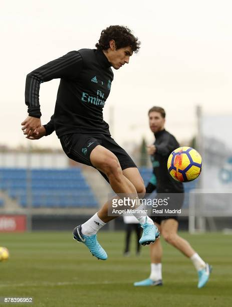 Jesus Vallejo of Real Madrid in action during a training session at Valdebebas training ground on November 24 2017 in Madrid Spain