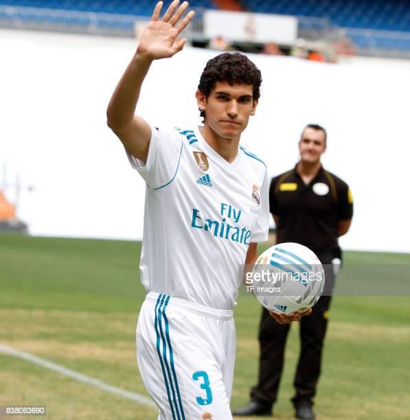 Jesus Vallejo of Real Madrid is presented at Bernabeu stadium on July 7 2017 in Madrid Spain