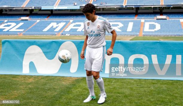 Jesus Vallejo of Real Madrid is presented at Bernabeu stadium on July 7 2017 in Madrid Spain
