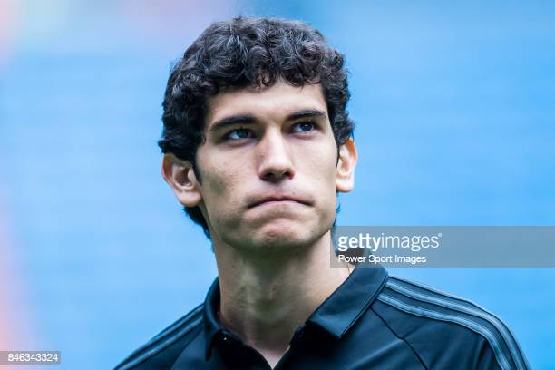 Jesus Vallejo of Real Madrid looks prior the La Liga match between Real Madrid and Levante UD at the Estadio Santiago Bernabeu on 09 September 2017...