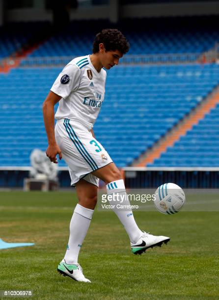 Jesus Vallejo of Real Madrid plays with the ball during his official presentation at Estadio Santiago Bernabeu on July 7 2017 in Madrid Spain