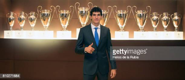 Jesus Vallejo of Real Madrid poses during his official presentation at Estadio Santiago Bernabeu on July 7 2017 in Madrid Spain