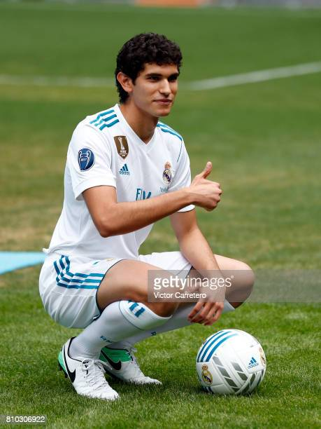 Jesus Vallejo of Real Madrid poses with the ball during his official presentation at Estadio Santiago Bernabeu on July 7 2017 in Madrid Spain