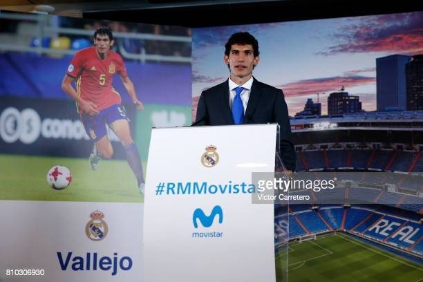 Jesus Vallejo of Real Madrid speak during his official presentation at Estadio Santiago Bernabeu on July 7 2017 in Madrid Spain